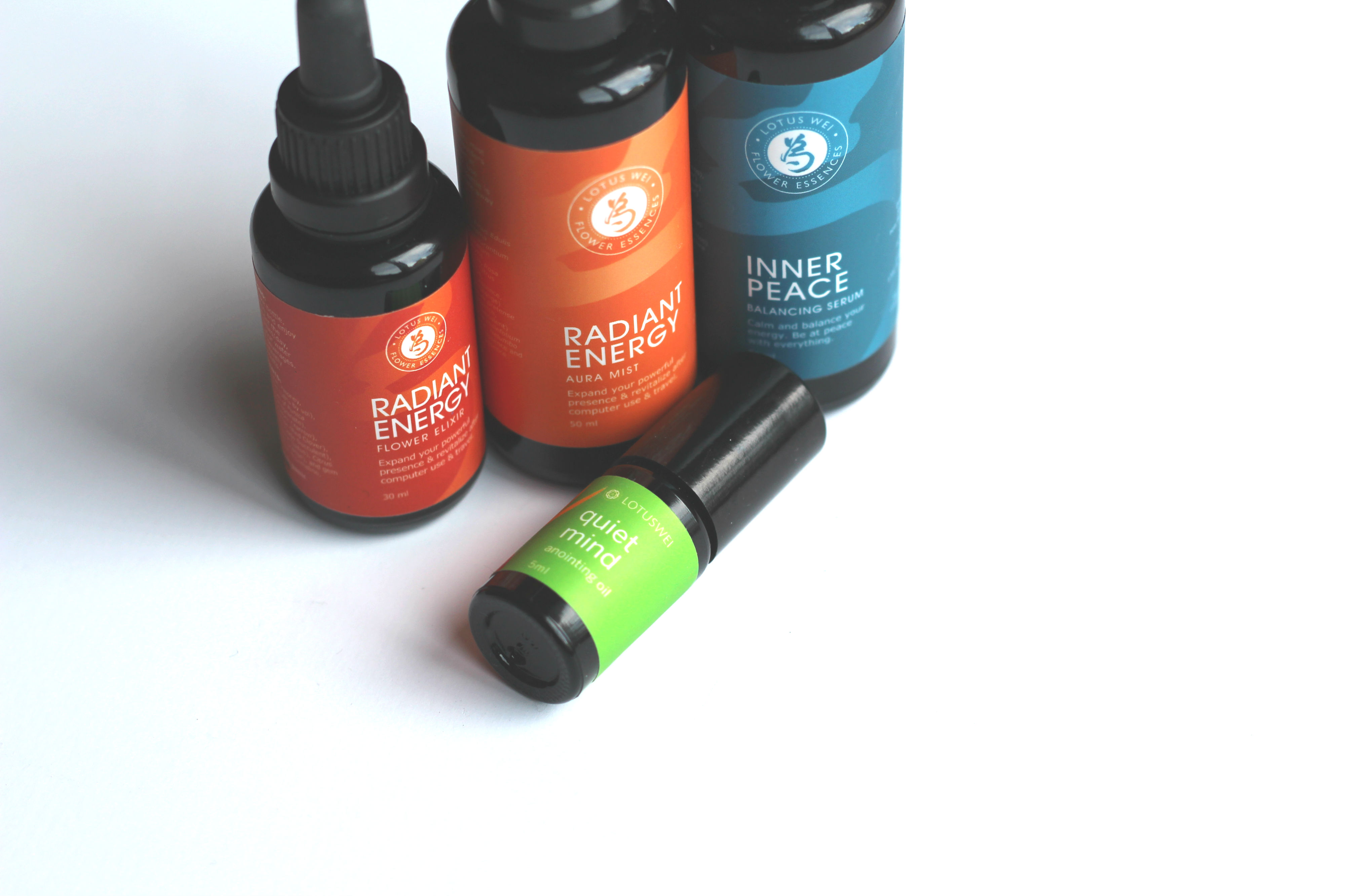 Radiant Energy Flower Elixir, Aura Mist, Inner Peace Balancing Serum, Quiet Mind anointing Oil